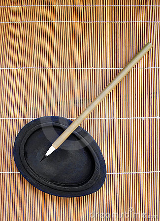 Bamboo writing brush for calligraphy