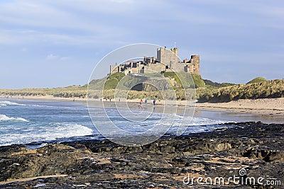 Bamburgh castle northumberland coast uk