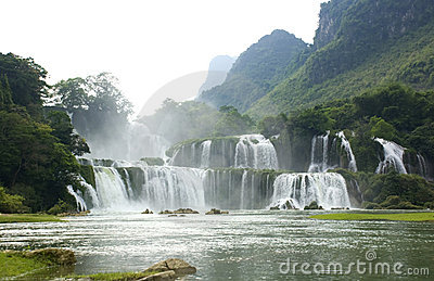 Ban Gioc waterfall landscape in Vietnam