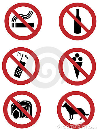 Ban signs on dogs, smoking, food, drinking, camera