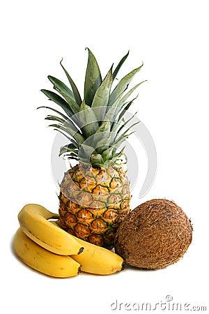 Banana, ananas, cocoa nut.