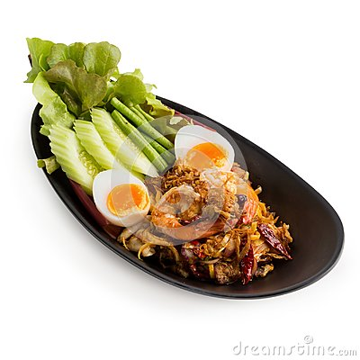 Free Banana Blossom Salad And Shrimp With Boiled Egg Isolated On Whit Stock Images - 104005694