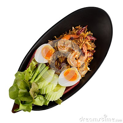 Free Banana Blossom Salad And Shrimp With Boiled Egg Isolated On Whit Royalty Free Stock Photography - 104008927