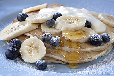 Banana and Blueberry Pancakes