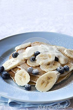 Banana and Blueberry Pancakes