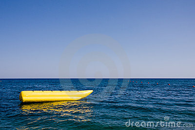 Banana boat in a sea
