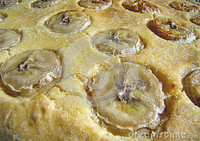 Banana cake close up