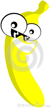 Nice Banana cartoon with sunglasses isolated