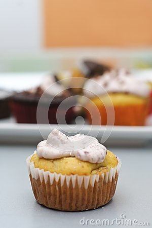 Banana cupcake with cheese frosting