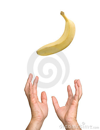 Banana falling to hands