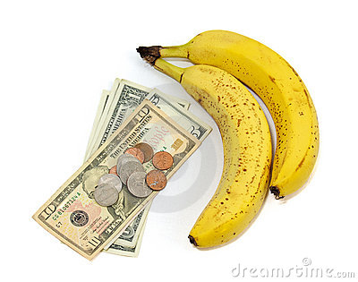 Banana fruit with money