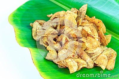 Banana glazed on banana leaf,Thai dessert