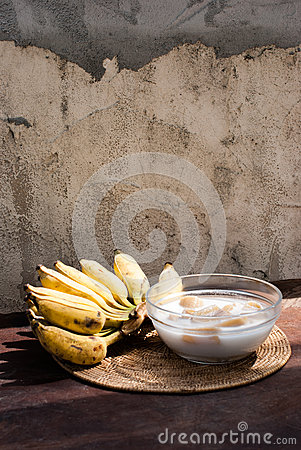 Free Banana In Coconut Milk ,Thai Desert Stock Images - 35768104