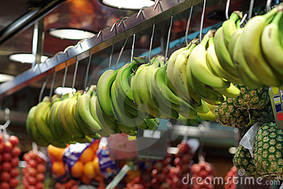 Banana at market in Spain