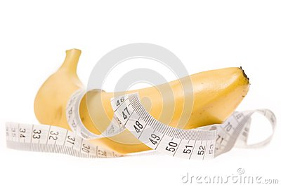 Banana with measuring tape