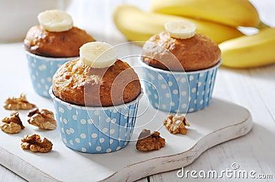 Banana muffins in blue paper cupcake case