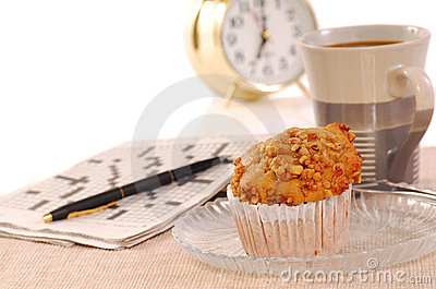 Banana nut muffin with alarm clock