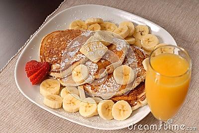 Banana pancakes with juice