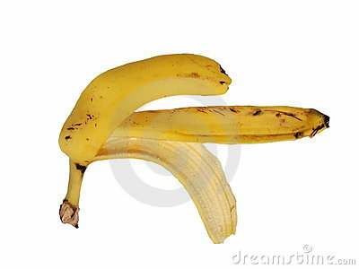 Banana peel on a white