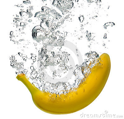 Banana splashing into water