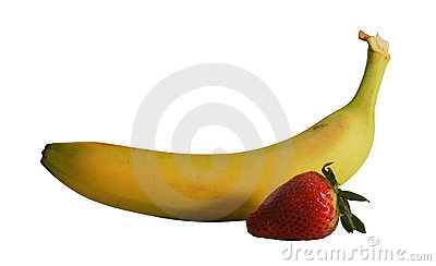 Banana and strawberry with path