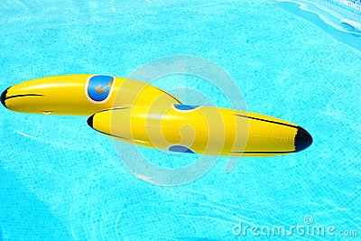 Banana in swimming pool