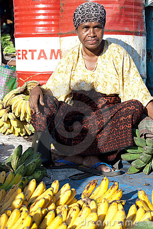 Banana vendor at the market Editorial Photography