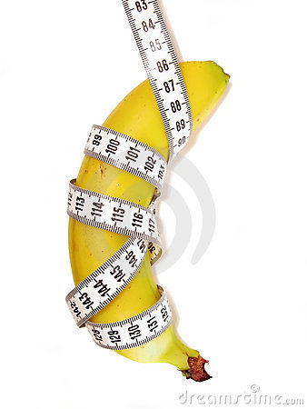 Banana wrapped with measuring tape