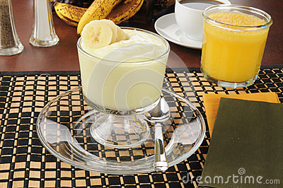 Banana yogurt with orange juice