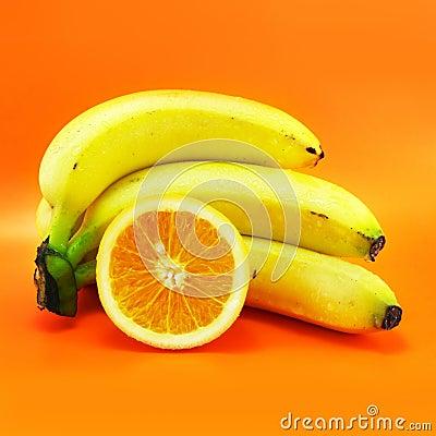 Free Bananas And Orange Stock Photo - 2539180