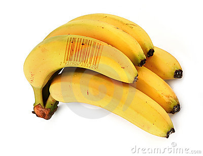 Bananas with bar code