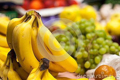 Bananas in market.