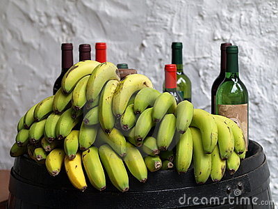 Bananas and wine bottles.