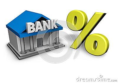 Banco e símbolo da porcentagem
