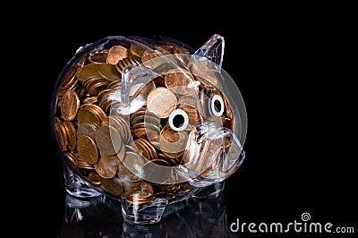 Banco Piggy desobstruído completamente de moedas de um centavo americanas