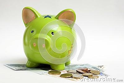 Banco Piggy e dinheiro