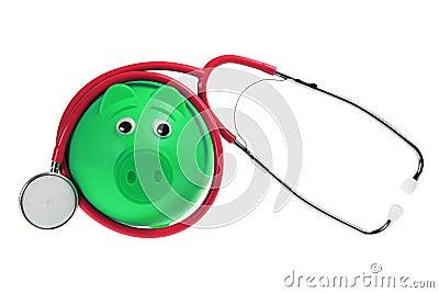 Banco Piggy e estetoscópio
