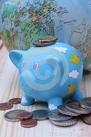Banco Piggy e moedas