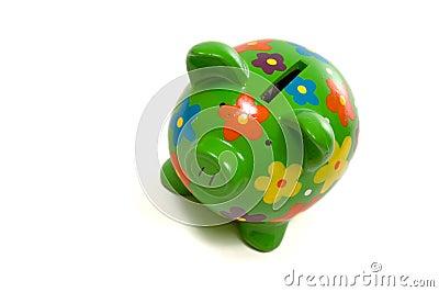 Banco piggy Flowery verde com dinheiro
