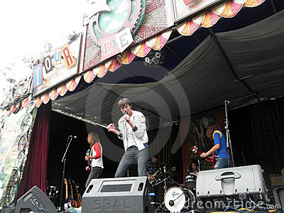 Band Free Energy Jams on Stage Editorial Photography