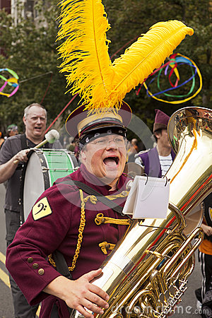 Band Member In Solstice Parade Editorial Photo