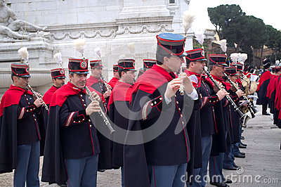 Band in military parade in Rome Editorial Image