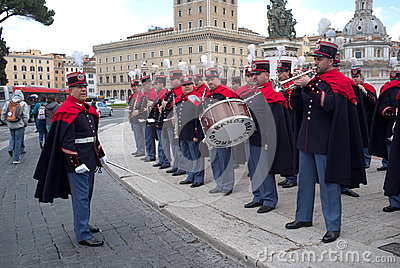 Band in military parade in Rome Editorial Stock Photo