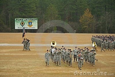 Band Moving in Front of Troops Editorial Stock Photo