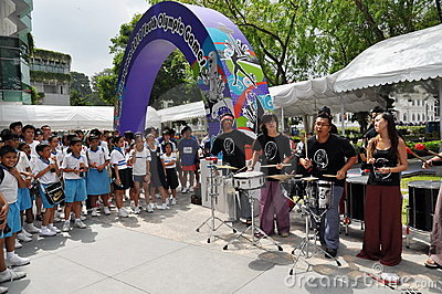 Band performance during Youth Olympic logo launch Editorial Photo