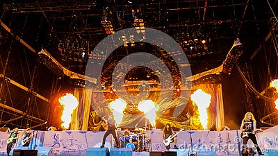 Band Playing On Stage With Fire Free Public Domain Cc0 Image