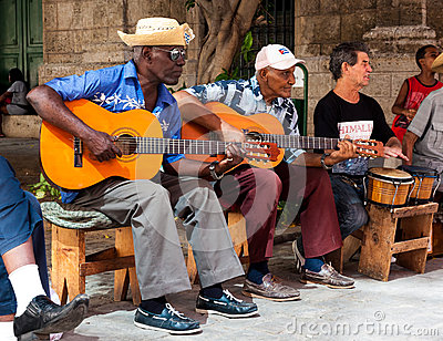 Band playing traditional music in Old Havana Editorial Stock Image