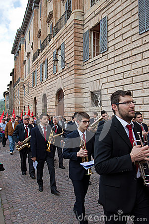 Band plays in the historical center of Gubbio Editorial Image
