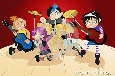 Banda de rock de cuatro niños