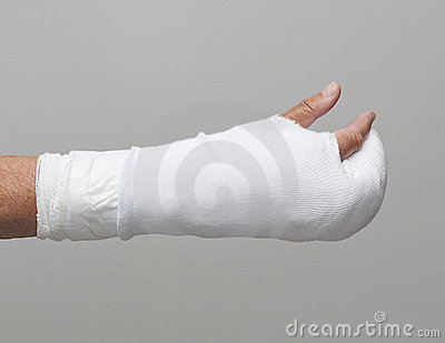 Bandaged arm and fingers